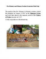 Pre- Primary and Primary Section Excursion
